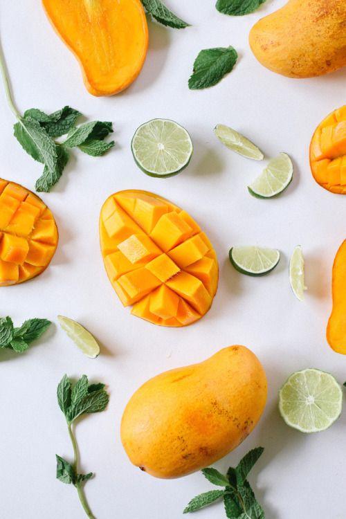 Mango and green lemons refreshing summer treats Fruit \ veg - wanddeko für küche