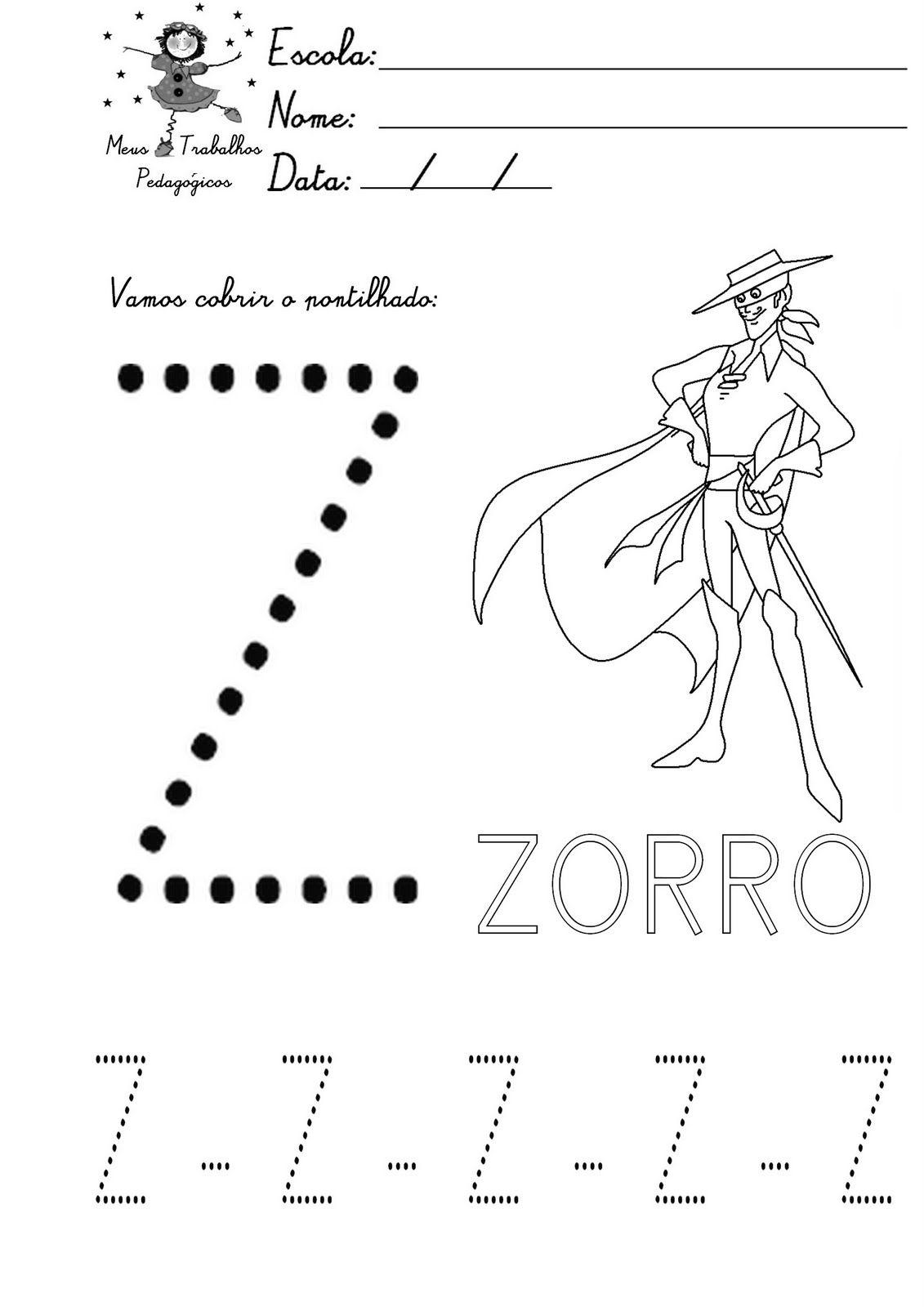 Alfabeto Pontilhado Para Colorir Letra Z Atividade Alfabeto