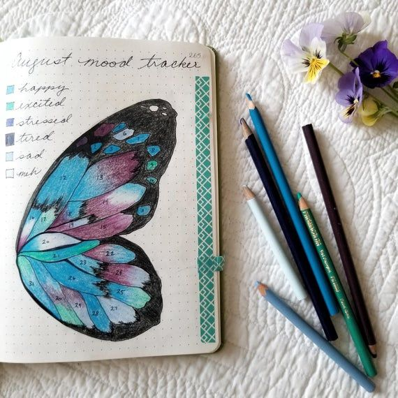 Mood tracker - downloadable - bullet journaling - butterfly wing - A5 size