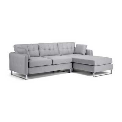Hera Grey Fabric Corner Sofa | Living Room | Grey fabric corner sofa ...