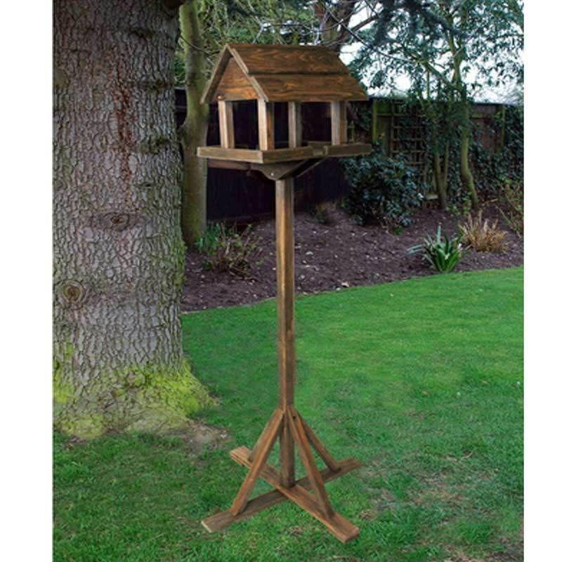 Wooden Bird Table Garden Decor Wildlife Wood House Feeding Station Feeder Stand   Bird house ...