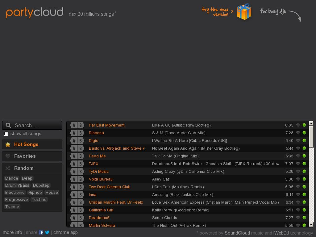 PartyCloud - mix music and create playlists online - web dj