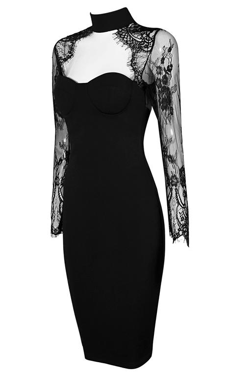0fa887c72112 Tiffany Black Lace Bandage Dress