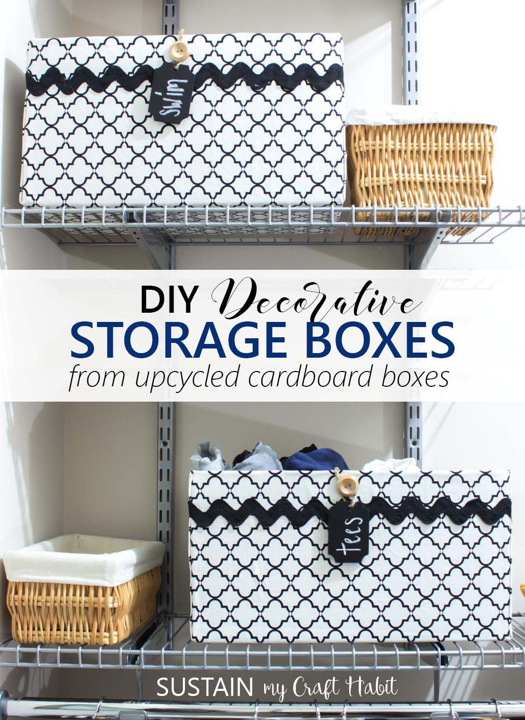 Transform Plain Cardboard Boxes Into Elegant And Useful Storage Bins Great For Organizing The Closet F Diy Storage Containers Diy Storage Fabric Storage Boxes