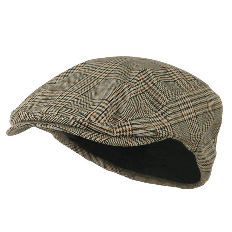 5e1dc94f7c193 MG Men s Plaid IVY Washed Canvas newsboy Cap Hat - Stone - CB1130ZB4CH