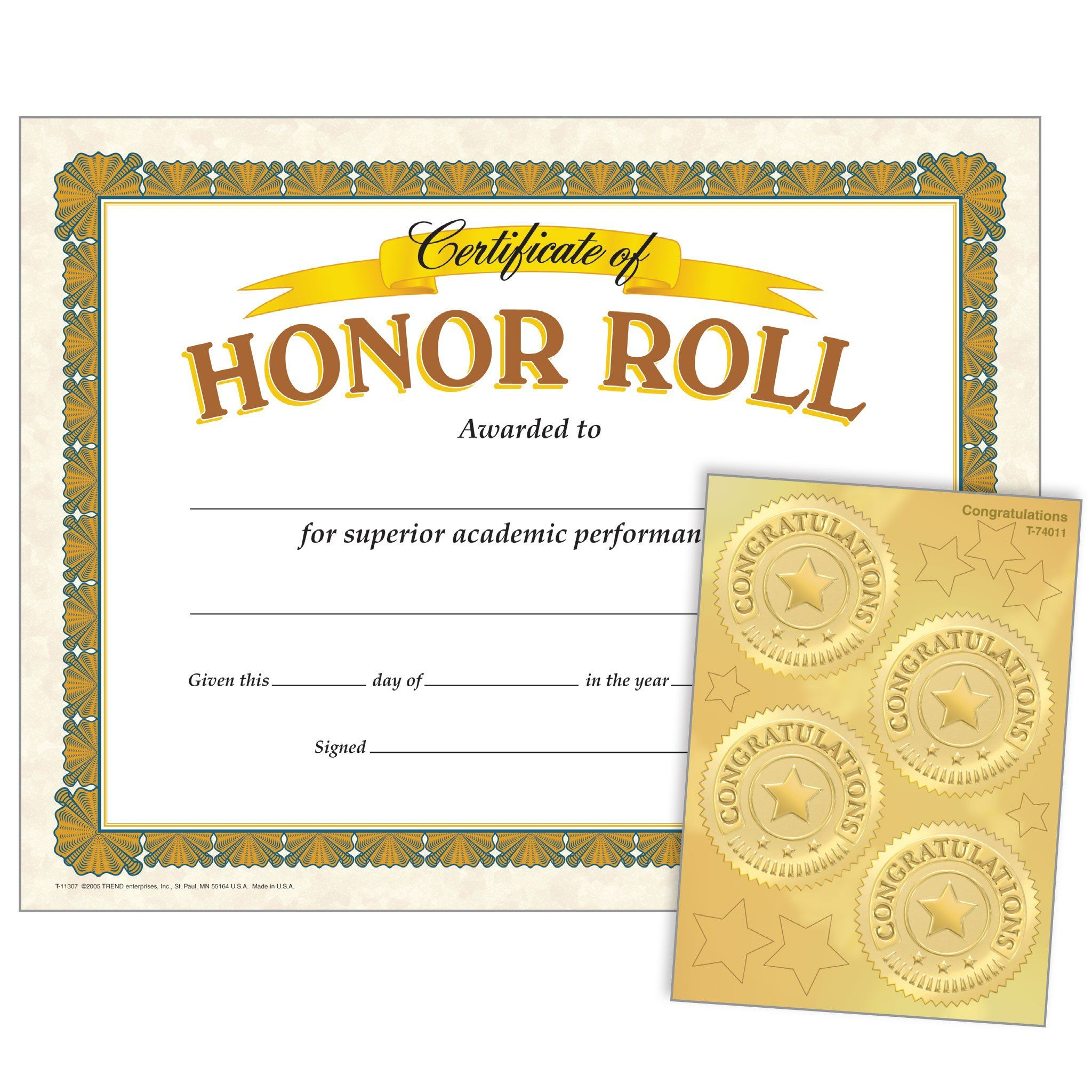 Honor Roll Congratulations Seals Certificates Award Seals Combo Pack In 2021 Certificate Inspired Learning Honor Roll All a honor roll certificate