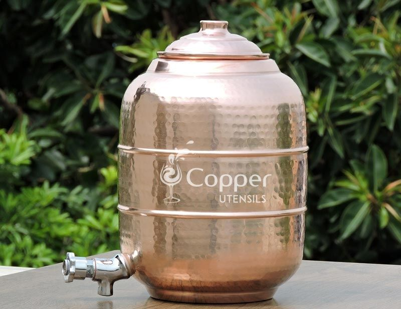 4 Gallons 15 Litre Portable Plain Pure Copper Water Tank Storage Matka Pot With Stainless Steel Tap Dispenser Stainless Steel Taps Water Dispenser Pure Copper
