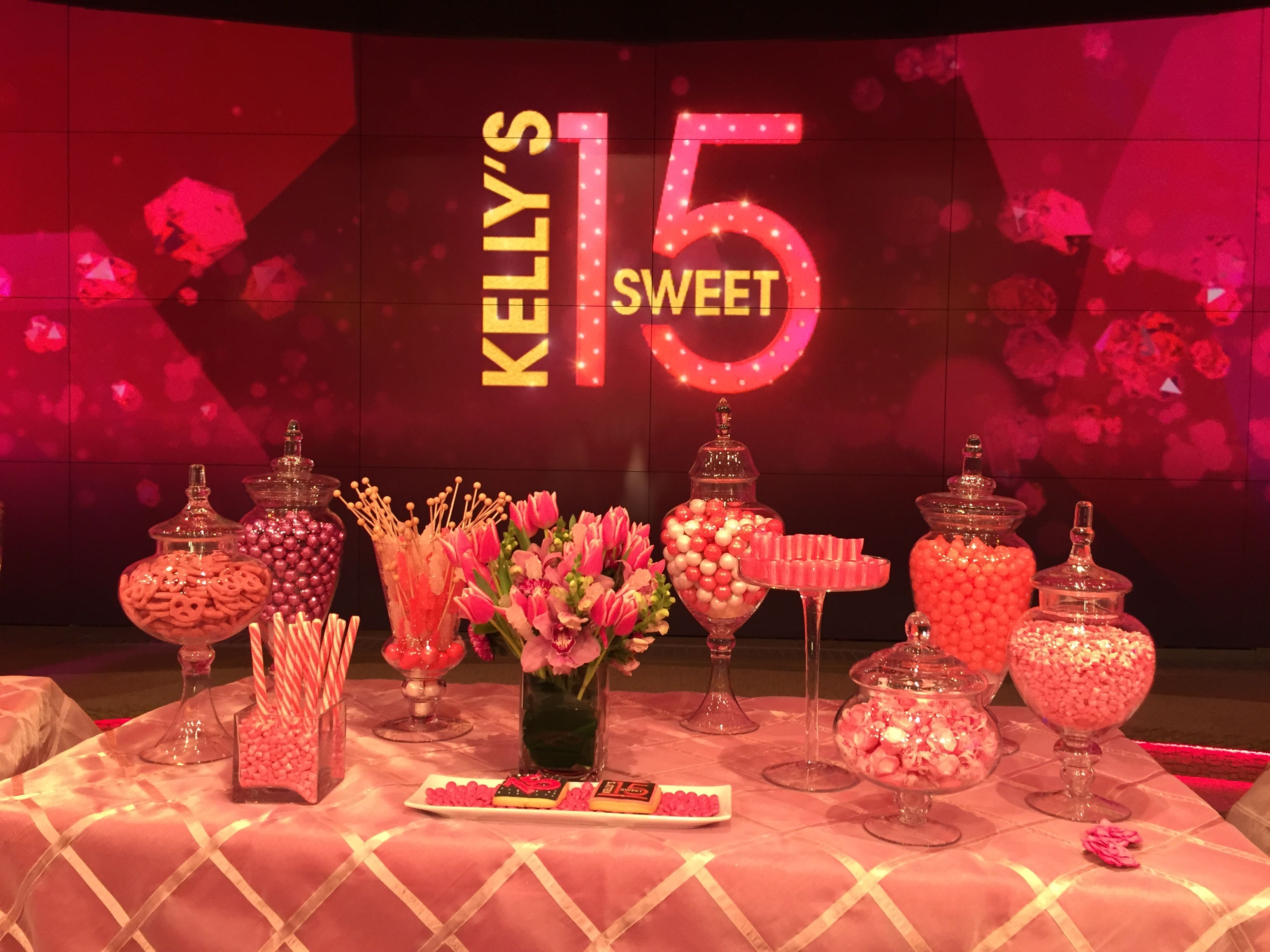 Kelly Ripa's Sweet 15 party Candy table from Pretty Sweet ...
