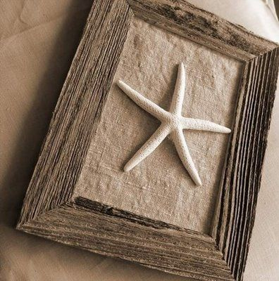 Easy little DIY beach & burlap art.