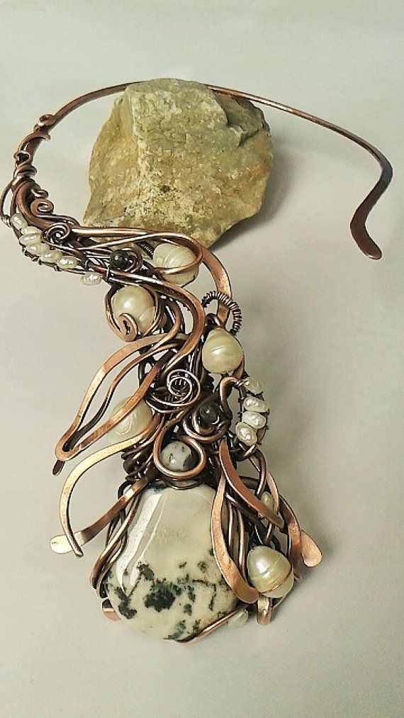 Fairy copper wire wrapped necklace with natural Moss Agate and ...