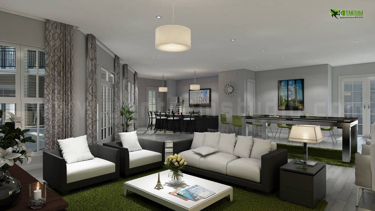 Interiordesign rendering for club house living room and for Kitchen room decoration
