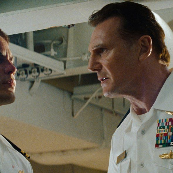 Liam Neeson and Taylor Kitsch in Battleship