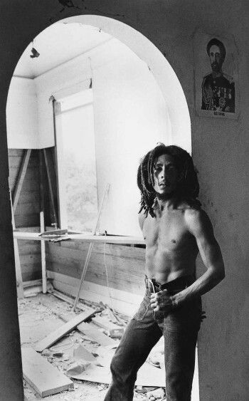 Bob Marley during renovations at 56 Hope Road, Kingston, Jamaica