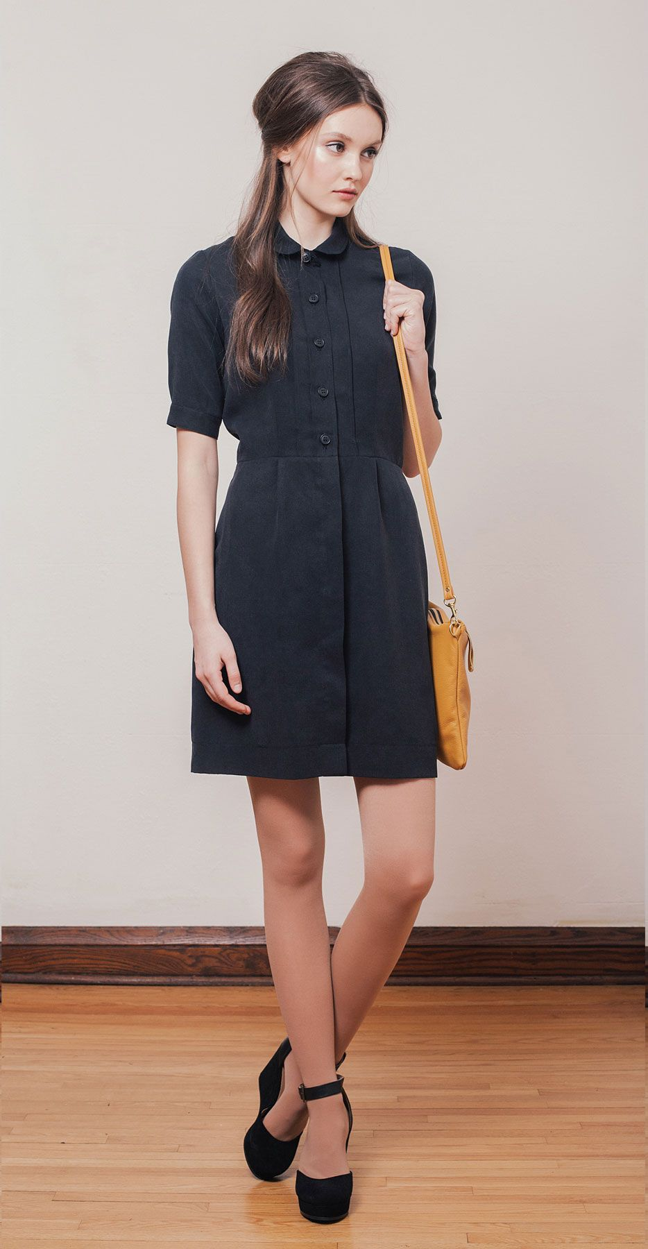 Lauren black shirt dress in tencel with small rounded for Small collar dress shirt
