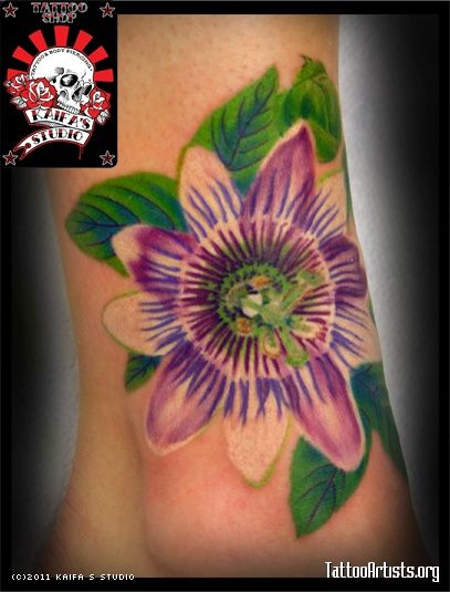 Purple Passion Flower Tattoo Rose Tattoo Meanings For Different Colors Floral Flower Tattoos Purple Passion Flower Tattoos Passion Flower