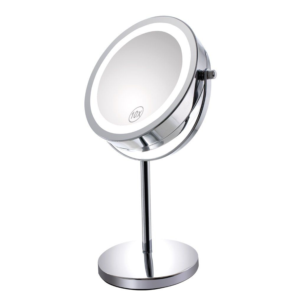 10x Magnified Lighted Makeup Mirror Double Sided Round Magnifying ...