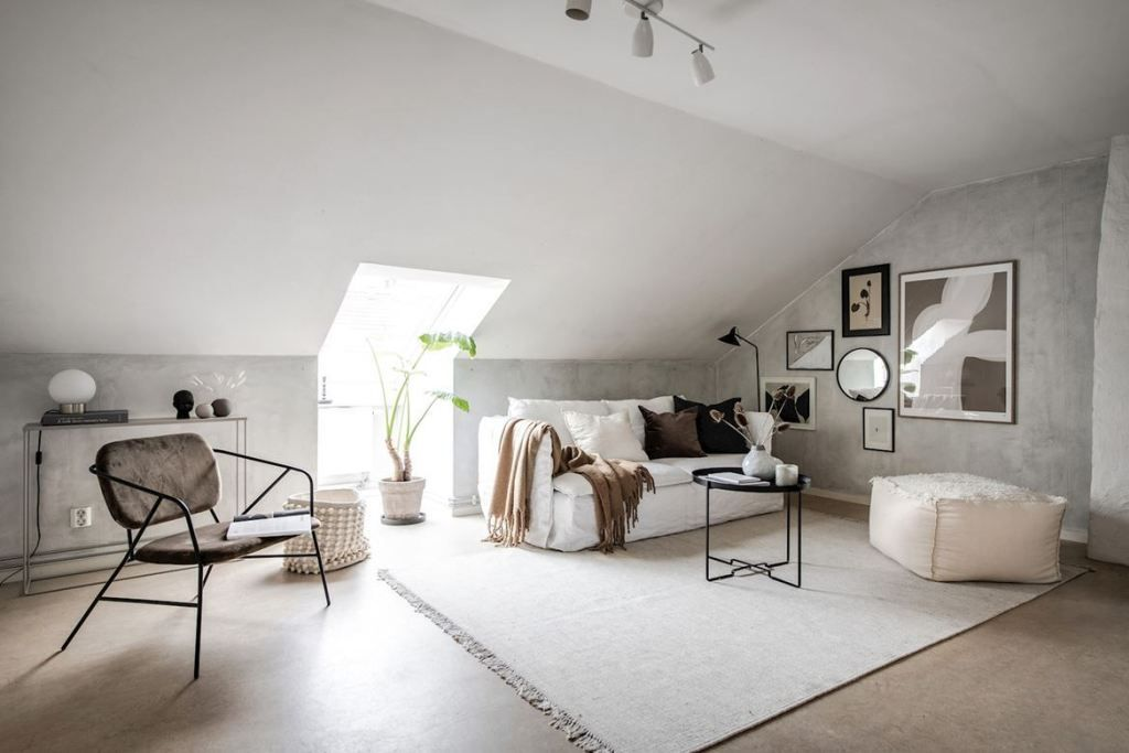 Attic apartment with mineral walls - COCO LAPINE DESIGN #atticapartment