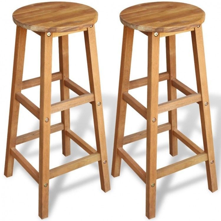 Dining Table Stools Chairs Set Of 2 Bar Wooden Seat Kitchen
