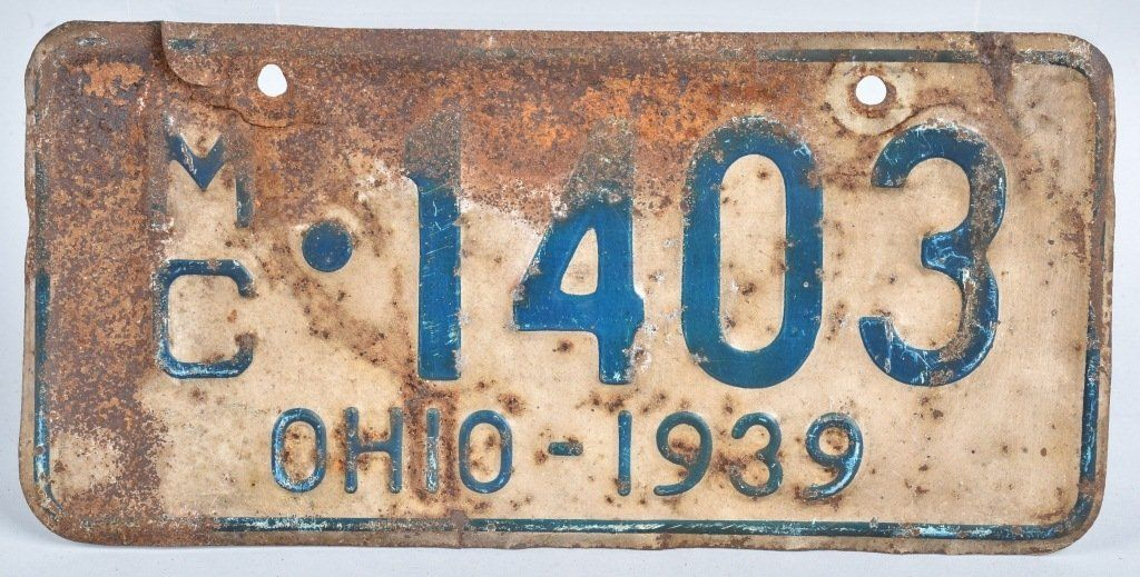 1939 OHIO MOTORCYCLE LICENSE PLATE : Lot 602 | 1939 | Pinterest ...