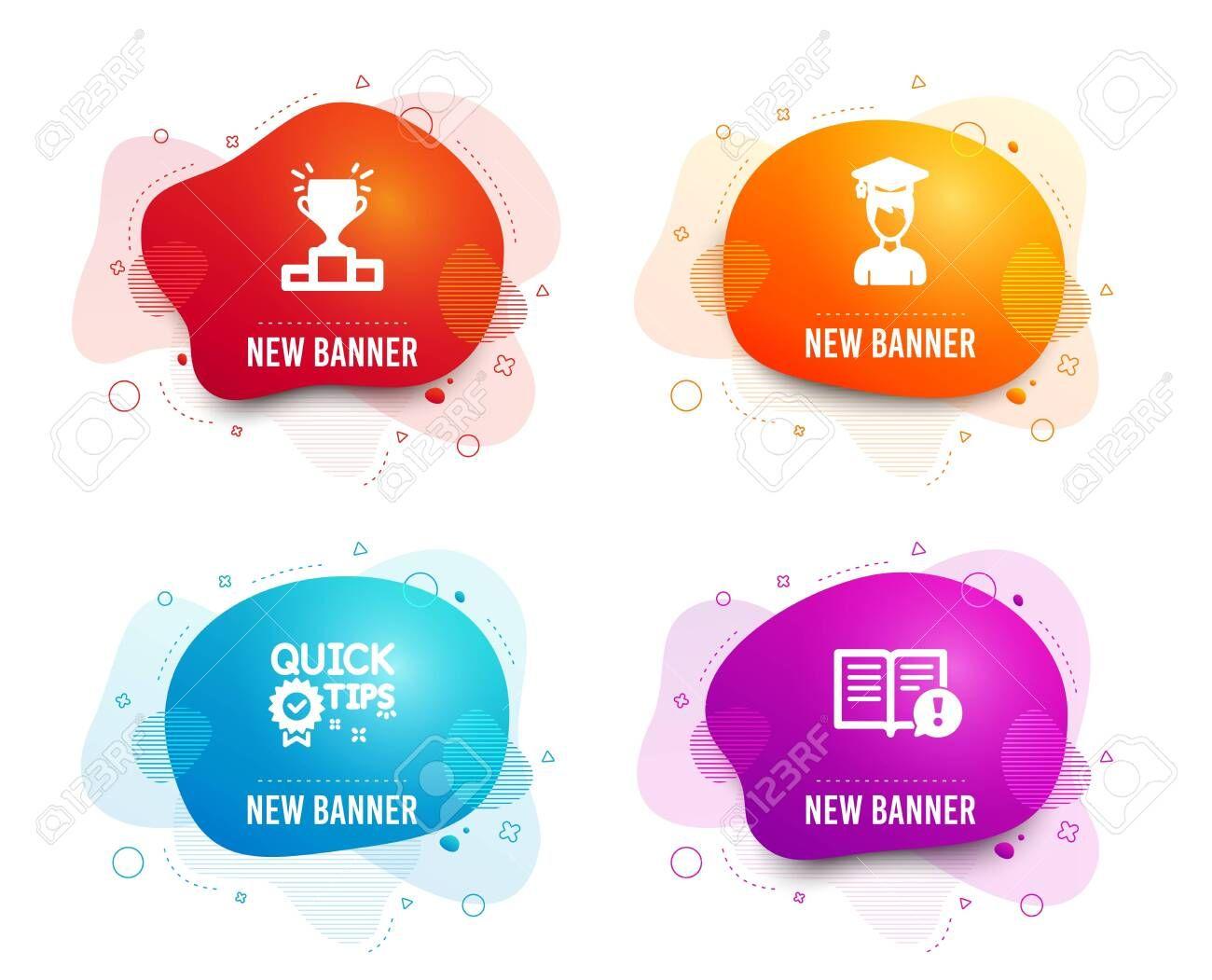 Liquid Badges Set Of Winner Podium Quick Tips And Student Icons