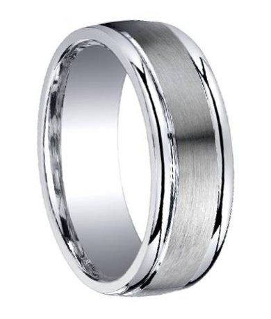 Argentium Silver Wedding Ring with Satin Center and Step-Down Polished Edges