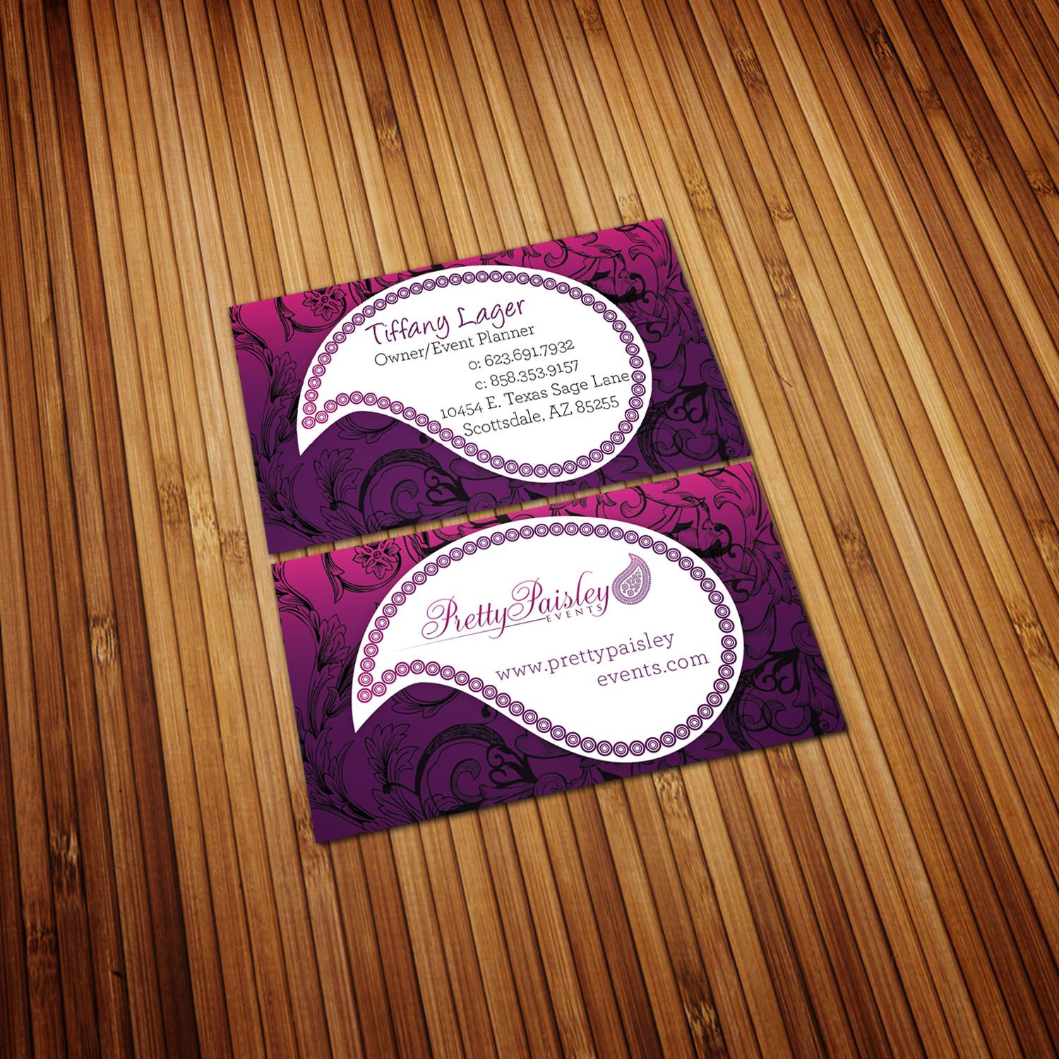 Business card concept i designed for pretty paisley an