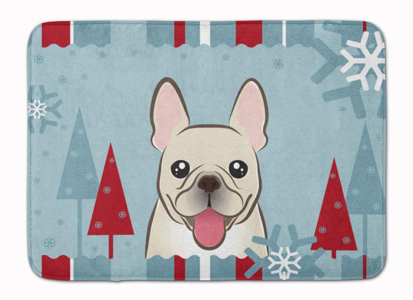 Winter Holiday French Bulldog Machine Washable Memory Foam Mat ...