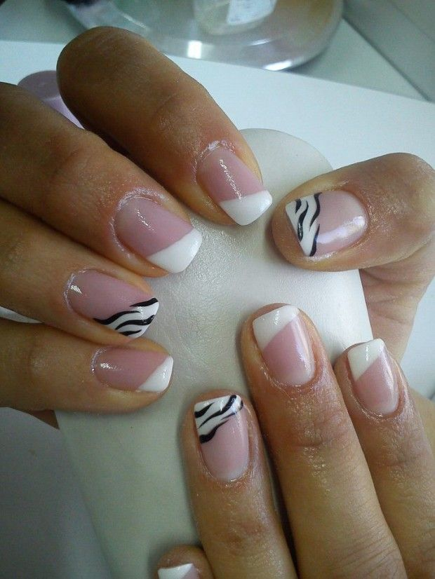 Not the zebra stripes, but the slanted tip  24 Cute Nail Art Ideas