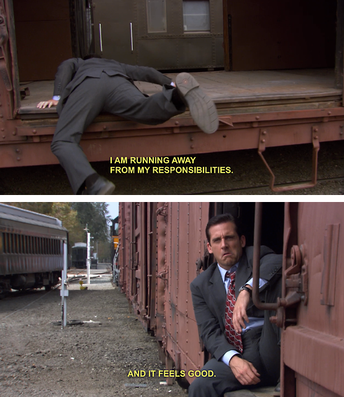 Image result for michael scott running away from responsibilities