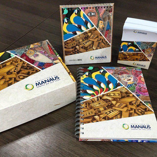 Projeto gráfico e direção de arte do kit de brindes 2015 para prefeitura de Manaus.