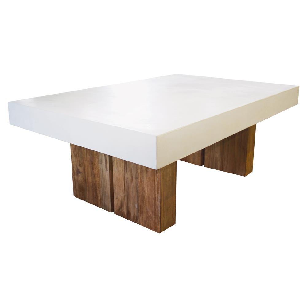 Cooper Modern Rectangular White Concrete Top Teak Base Outdoor