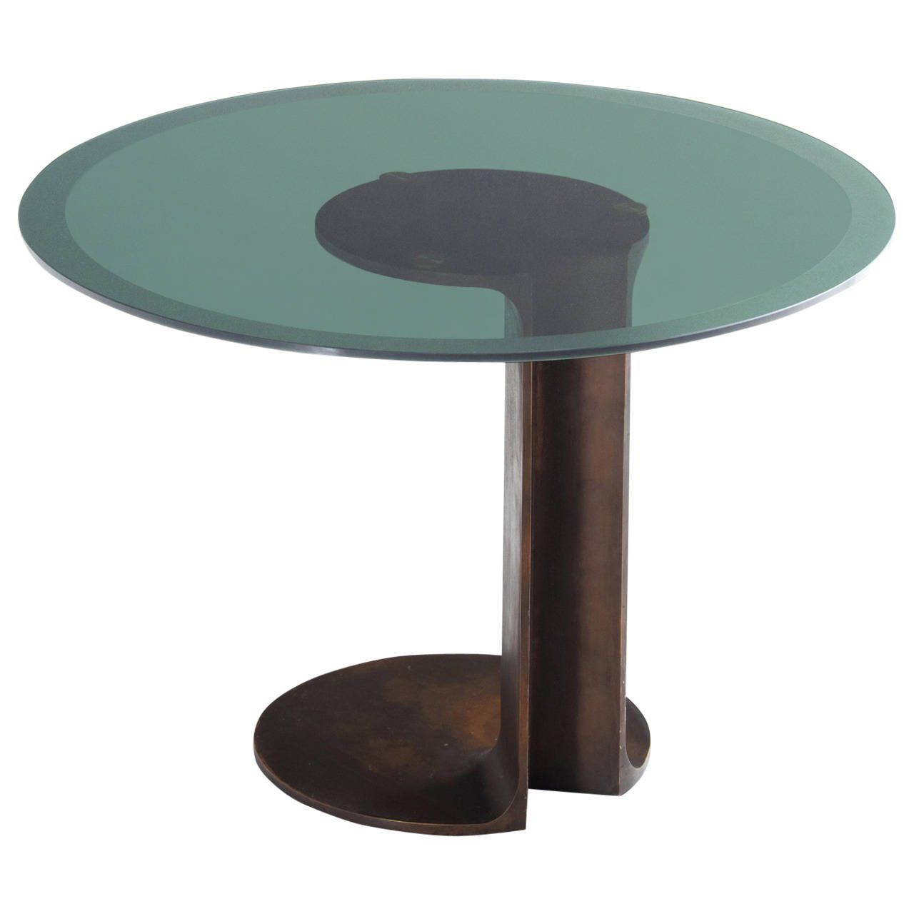 Tobia Scarpa Sculptural Table In Bronze And Glass From A Unique