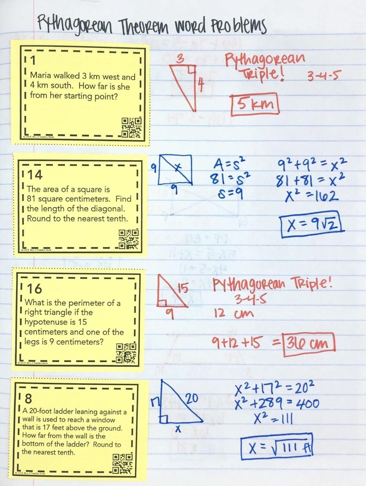 Pythagorean Theorem Word Problems Interactive Notebook