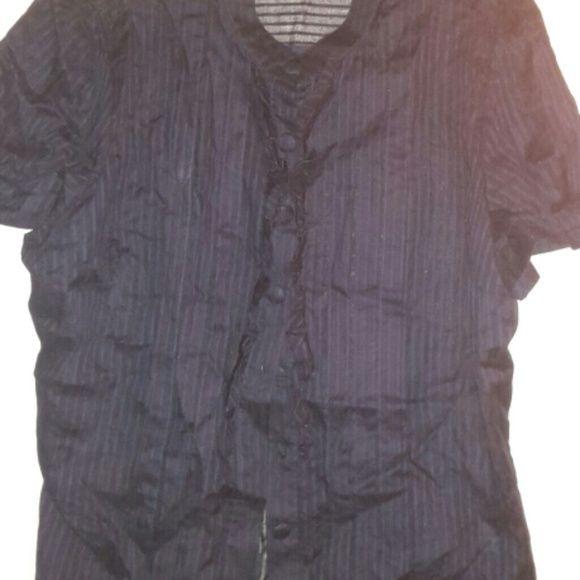 Cute sheer blouse Navy ribbed look sheer short sleeve blouse a.n.a Tops Blouses
