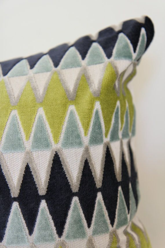 """16x24"""" Villa Nova Lerwick in Seafoam, boho chic style pillow cover, velvet pillow, navy velvet pillow, green velvet pillow, zigzag pattern"""