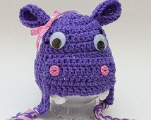 Newborn Photo Prop Photography Props Animal Hat Hippo Hat Infant Photo Prop Crochet Purple Hippo Hat Girl Earflap Beanie Baby Photo Prop