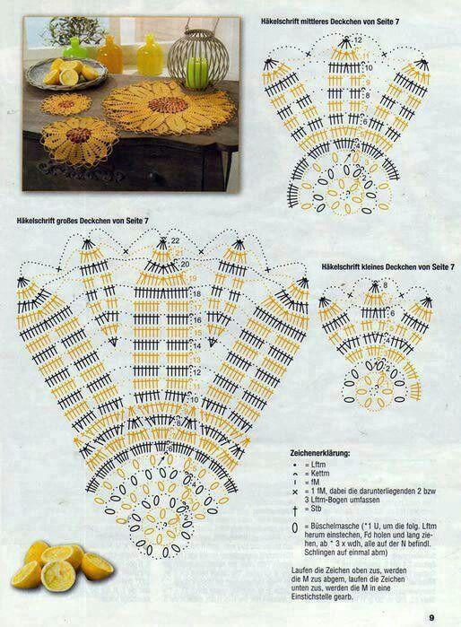 Girasol   Doily crochet   Pinterest   Girasoles, Carpeta y ...