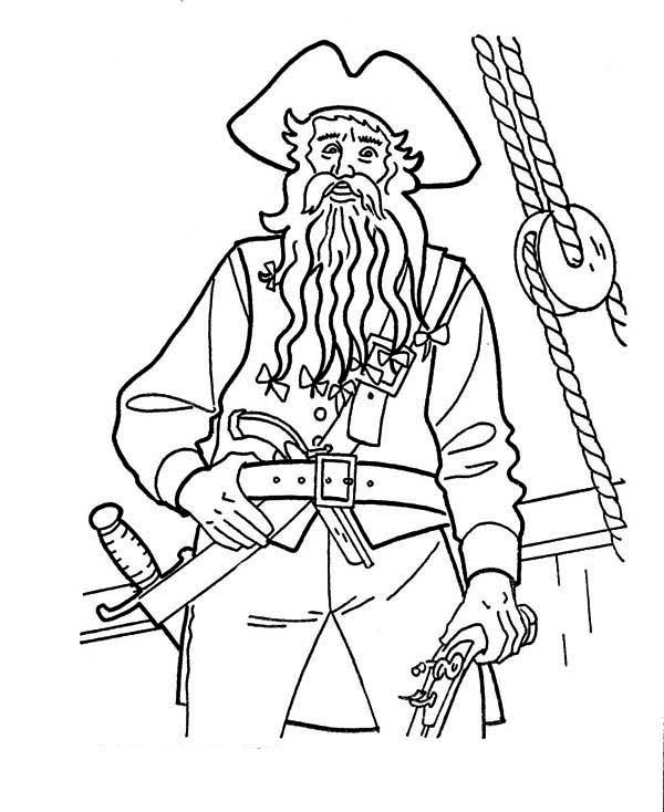 Captain Blackbeard In Pirates Of The Caribbean Coloring Page Coloring  Pages, Pirates Of The Caribbean, Coloring For Kids
