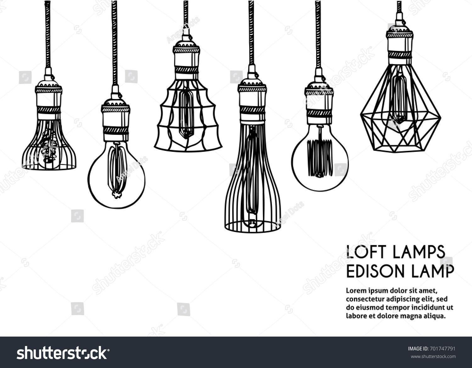 Hand drawn vector set of different geometric loft lamps. Edison ...