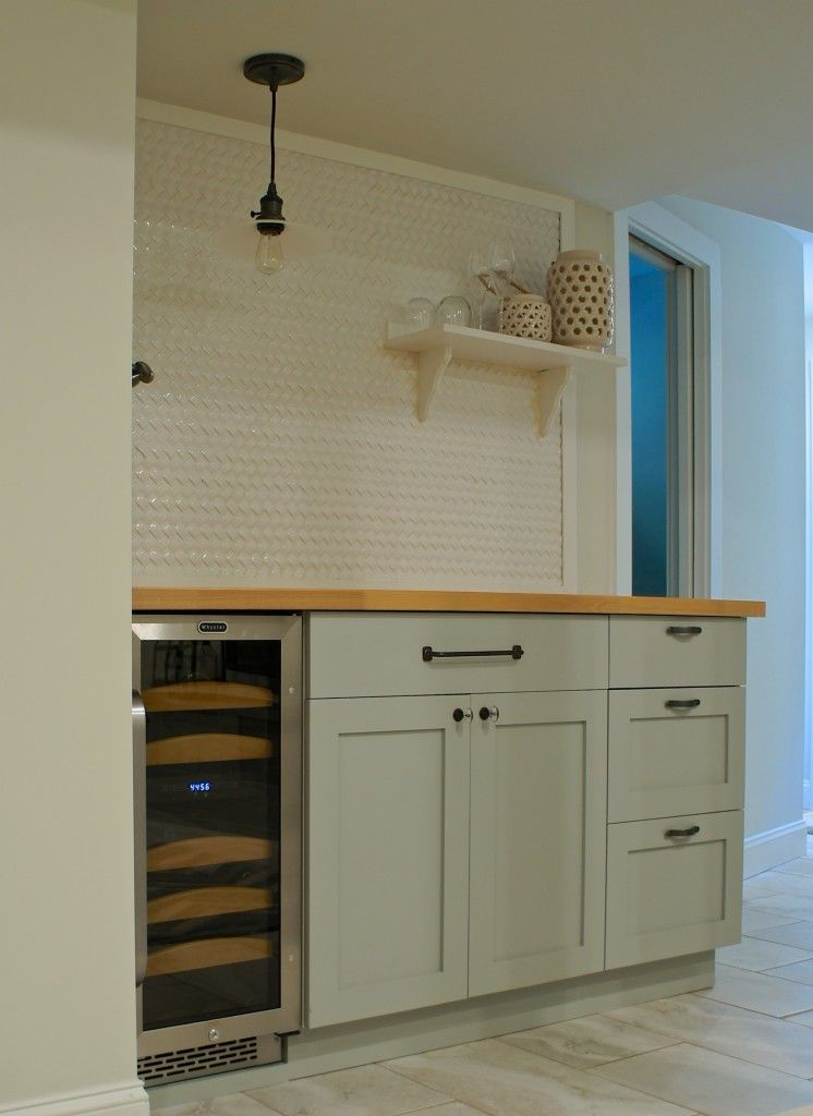 Diy budget small space dry bar using 3d backsplash tile for Basement kitchen ideas on a budget