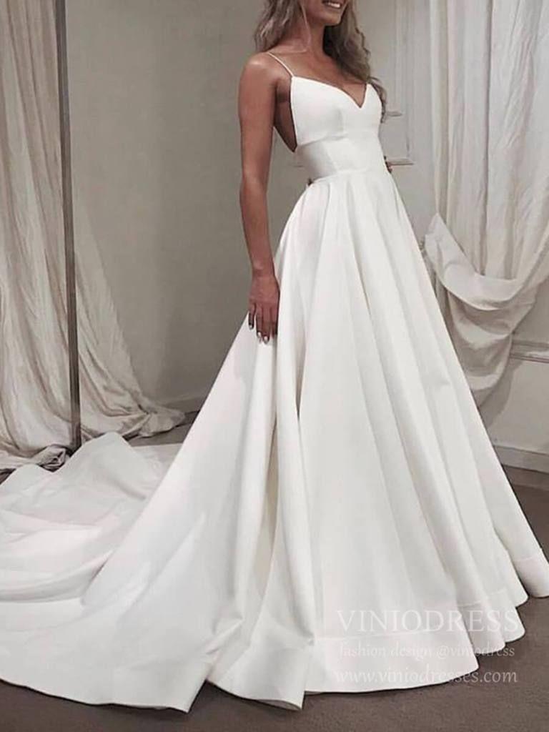 #Brautkleider #Einfache #langen #mit #Spaghetti #Strap