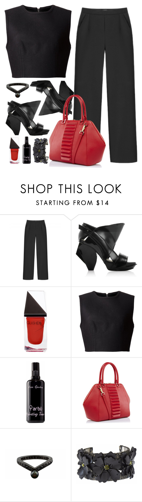 """Edgy outfit inspiration"" by runway2street ❤ liked on Polyvore featuring Non, Abcense, GUiSHEM, Alexander Wang, arbÅ«, Kristina George, Karapetyan and Forest of Chintz"