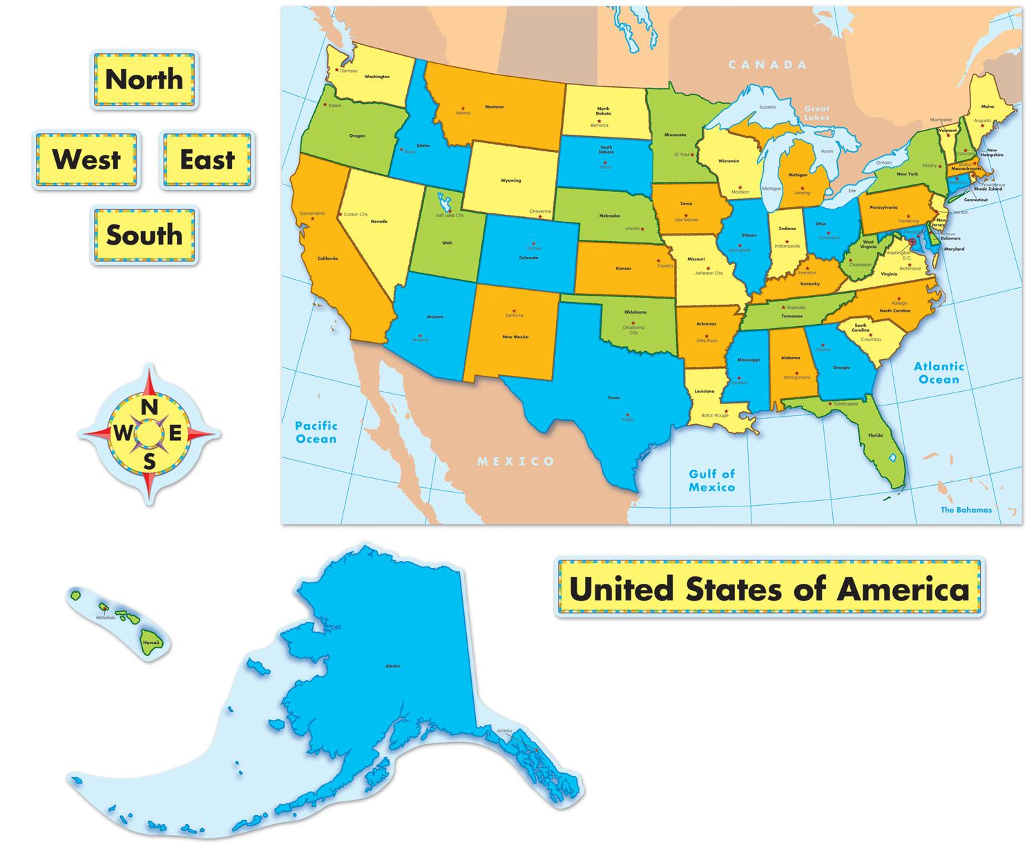 Compass Rose On Map Of Canada Quick Stick® United States Map Bulletin Board Set #CDWishList