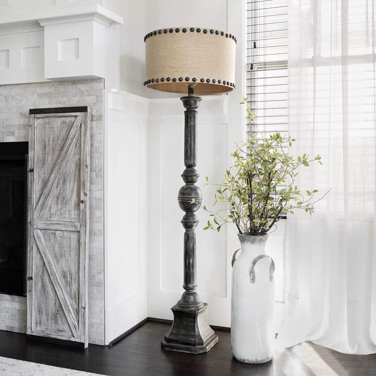 Distressed oliver baluster floor lamp in 2020 farmhouse