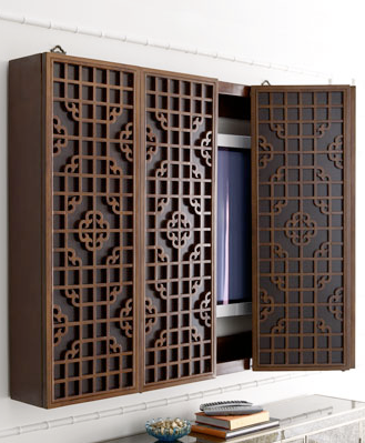 Wooden Plasma TV Cabinet   Traditional   Media Storage   Horchow   We Could  Design A Concept Like This In A Different Fretwork In White?