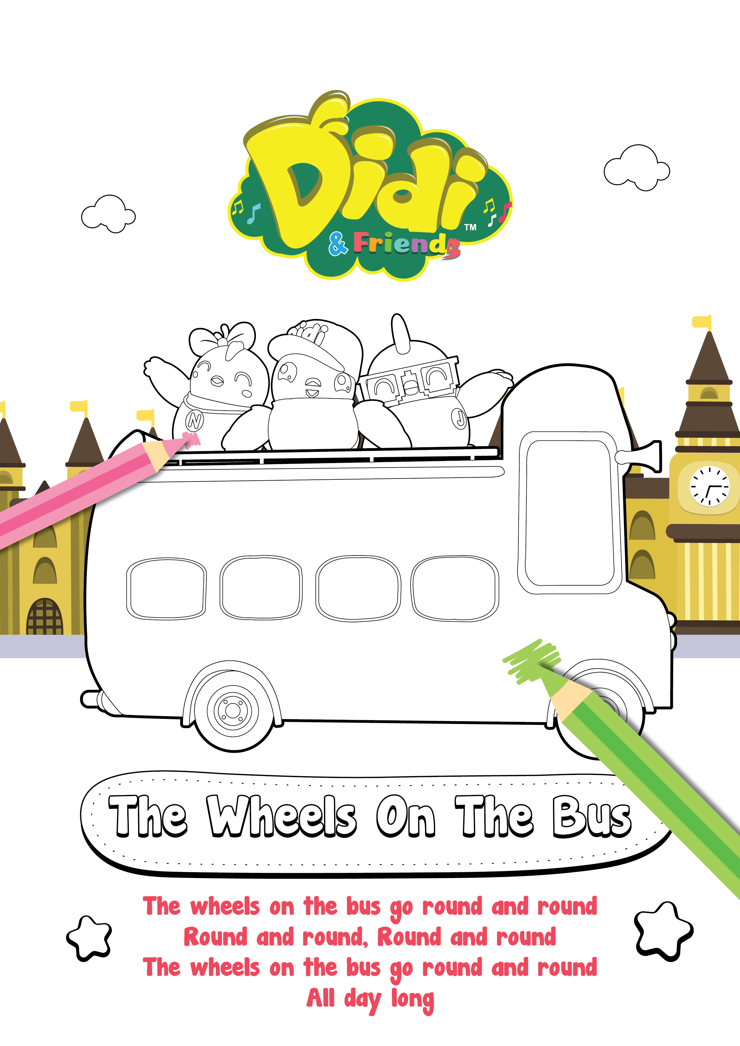 Colouring Sheet Nursery Rhymes The Weels On The Bus Didi Friends Coloring Sheets For Kids Nursery Rhymes Color Activities
