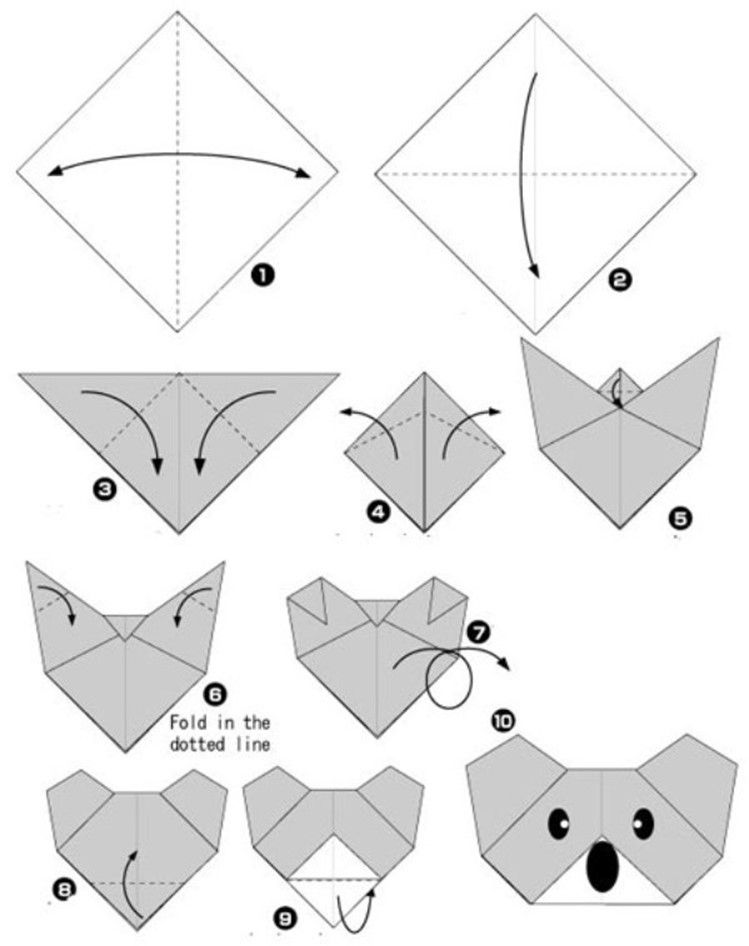 simple origami for kids and their parents selection of funny and cute figures koala basteln. Black Bedroom Furniture Sets. Home Design Ideas