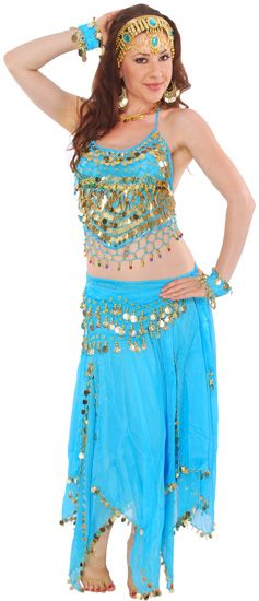 Belly Dancer Coins & Paillettes Costume - TURQUOISE