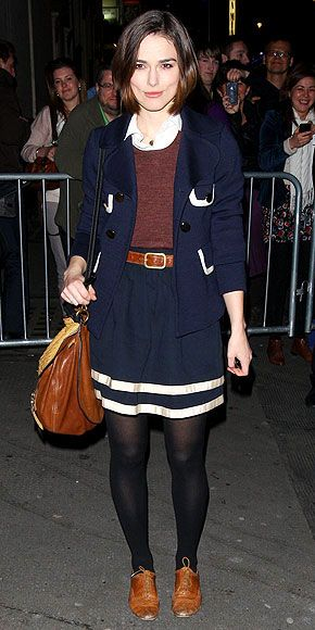 Keira Knightley. I think she looks a little matchy matchy school girl ridiculous, but I Love that bag.