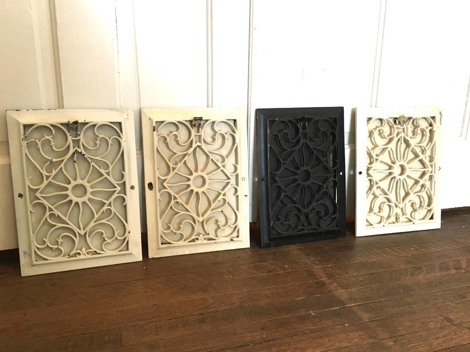 Lot Of 4 Matching Antique Cast Iron Heat Register Grate Vent Victorian Vtg Floor Ebay Antique Cast Iron Heat Registers It Cast